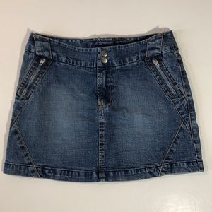 bebe Stretch Denim Mini Skirt